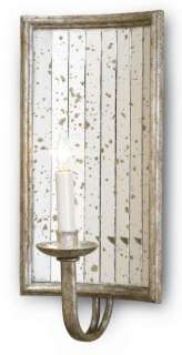 CURREY & CO. COMPANY Twilight Wall Sconce #5405, Silver Leaf Mirrored