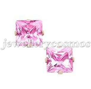6mm cute pink cz silver plt girls women stud earrings
