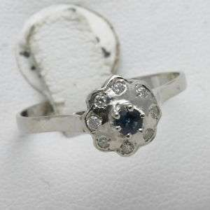 14k white gold Blue Sapphire & diamond FLOWER ring Reproduction dainty