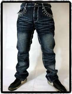 Premium Denim Jeans Hip Hop Urban Fashion Street Club Wear rhinestones