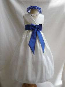 IVORY ROYAL BLUE WEDDING PARTY FLOWER GIRL DRESS 1   14