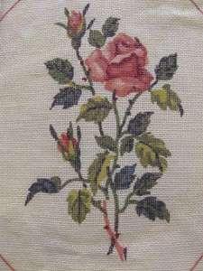 Needlepoint Petit Point Canvas Pink Roses 11.75 x 10 Royal Paris #1