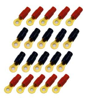 20 Pack 1/0 Gauge Wire Crimp Cable Ring Terminals Connector Red Black