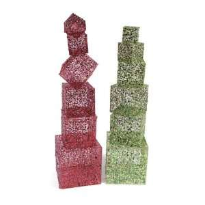 Set of 2 Candy Crush Red & Green Glittered Stacked Christmas Presents