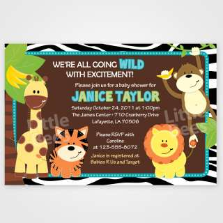 Wild Zebra Print Jungle Safari Friends Baby Shower or Birthday