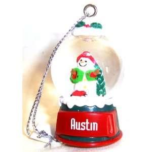 Austin Christmas Snowman Snow Globe Name Ornament