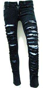 NEW destroyed ripped skinny black Balmian style JEANS,M