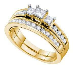 1 Carat Three Stone Princess Round Diamond 14k Yellow Gold
