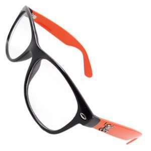Como Orangered Plastic Arm Clear Lens Plano Glasses for