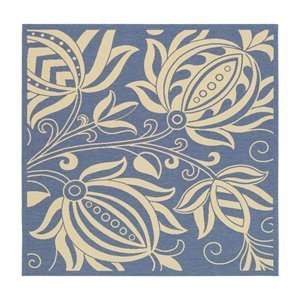 Feet 7 Inch Antigua Indoor/Outdoor Square Area Rug, Blue and Natural