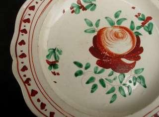 Antique Leeds Rose Creamware Plate c. 1780