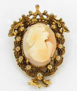 VINTAGE FLORENZA SHELL CAMEO GOLD TONE REGAL PIN BROOCH