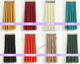 New Styles Women Chiffon Pleated Elastic Waistband Long Skirt DR11