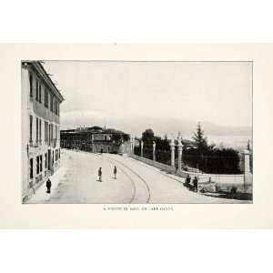 1905 Print Street Scene Cityscape Salo Italy Lake Garda