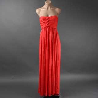Summer Coral Red Romantic Bohemian Tiered Long Maxi Jersey Sun Dress