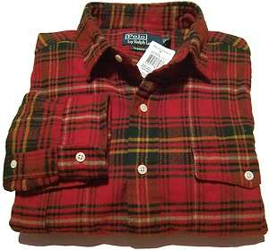 Polo Ralph Lauren Mens Plaid Flannel Button Shirt Red/Green M