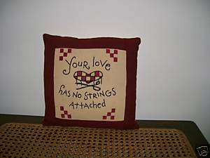 primitive stitched HEART decor pillow/ YOUR LOVE /gift