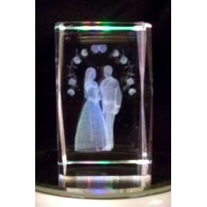 Laser Etched Crystal Cube Wedding Bride and Groom