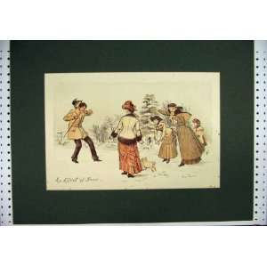 Hand Coloured Snow Playing Dog Men Women Antique Print