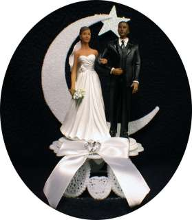 bride African American Groom Wedding cake topper Bi racial top