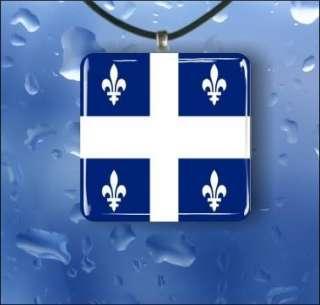 FLEUR DE LIS QUEBEC FLAG GLASS PENDANT NECKLACE