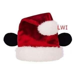 Plush Disney Mickey Mouse Santa Ear Christmas Hat ADULT
