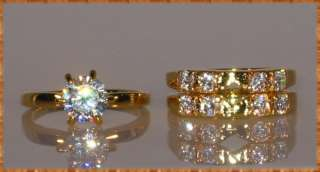 05 CT. Engagement Wedding Bridal Yellow Gold EP Ring Guard Set