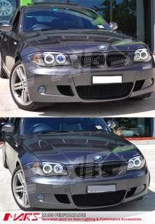 BMW E81 E82 E87 E88 CCFL Angel Eyes Projector Black HeadLight Head
