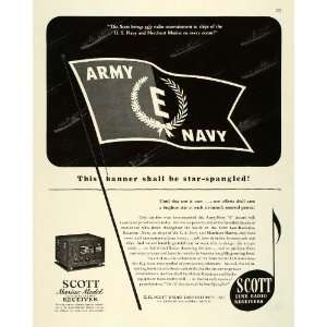 1943 Ad Scott Ship Marine Radio Receiver WWII War Production