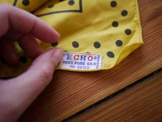 Vtg 60s Echo Black Yellow Polka Dot Japanese Silk Scarf