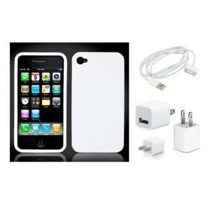 iPhone 4 Snap On Hard Case   White + Home Charger + Data