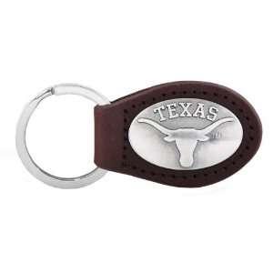 NCAA Texas Longhorns Brown Leather Concho Key Fob, One