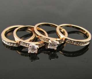 swarovski crystal 18K rose gold GP Ring SIZE 6 8.5 engagement promise