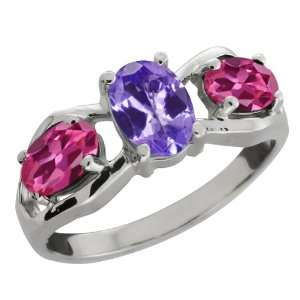 Oval Blue Tanzanite and Pink Tourmaline Sterling Silver Ring Jewelry