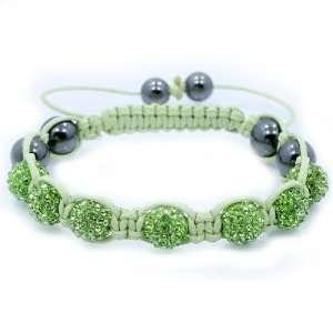 High Quality Lt Green Swarovski Crystal & Hematite Bead