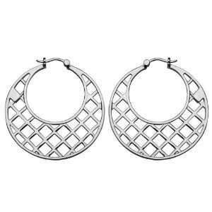 ELLE Jewelry Sterling Silver Openwork Hoop Earring