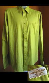 Vtg 70s LIME GREEN MENS ARROW BAROQUE MOD SHIRT LARGE