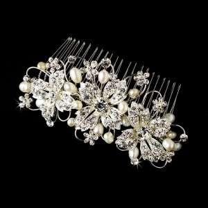 Elegant Rhinestone Encrusted Floral Bridal Hair Comb