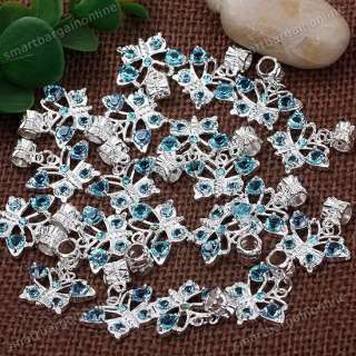 20x Silver Plated Crystal Butterfly European Dangle Beads Fit Charms