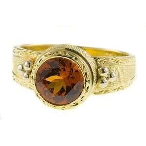 Unusual Handmade Designer Orange Pink Malaia Garnet Gold Ring