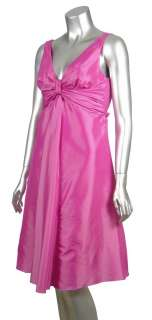 Taffeta V Neck Knot Front Cocktail Party Dress Cotton Candy Pink 6