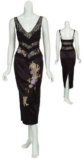 Exotic MANDALAY Black Floral Silk Lace Dress Gown 8 NEW