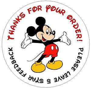MICKEY MOUSE~ Round DSR Seller Labels Laser Printed