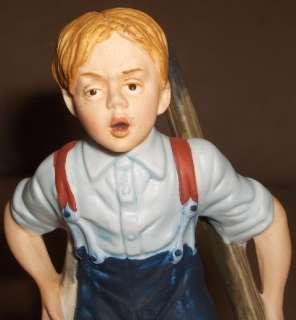 1980 The Danbury Mint Norman Rockwell BOY ON STILTS Dog Porcelain