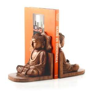 Meditating Buddha Bookends~Wood Carving Art~Home Decor