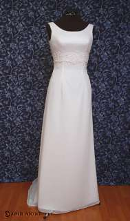 White Satin & Chiffon Backless Wedding Dress NWOT
