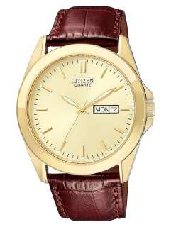 Mens Gold Tone Brown Leather Strap Watch Day/Date. 100% New
