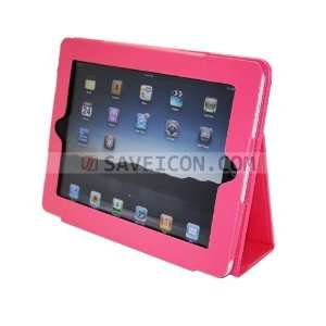 Pink PU Folio Leather Case Cover with Built in Stand for Apple iPad 1