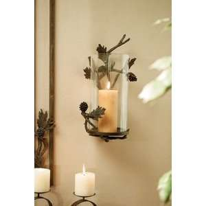 Brass and Glass Pine Cone Rustic Candle Wall Sconce