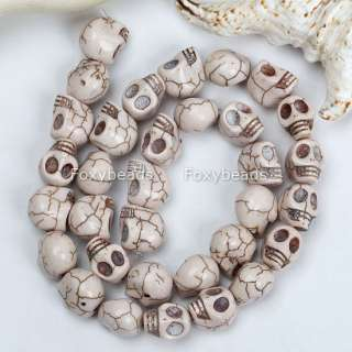 White Turquoise Howlite Skull Carved Loose Beads 15.5L